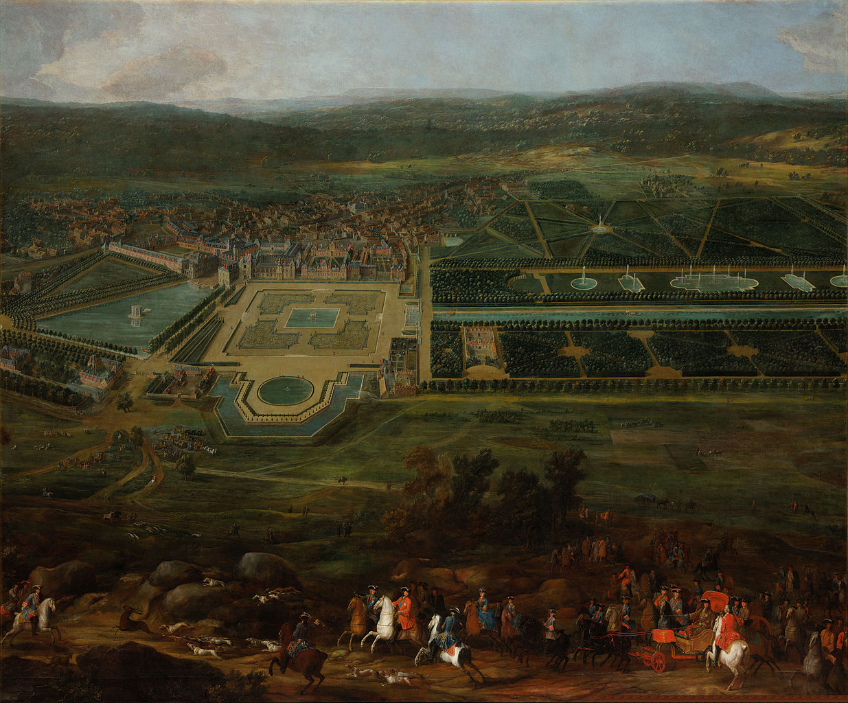 Pierre-Denis Martin, Vue du Château de Fontainbleau (1718-1723). Click for source and higher resolution image.